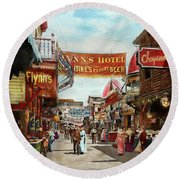 Round Beach Towel featuring the photograph City - Coney Island Ny - Bowery Beer 1903 by Mike Savad