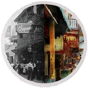 Round Beach Towel featuring the photograph City - Coney Island Ny - Bowery Beer 1903 - Side By Side by Mike Savad