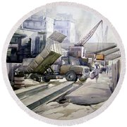 City Construction  Round Beach Towel by Samiran Sarkar