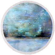 Round Beach Towel featuring the digital art City Dream by Linda Sannuti