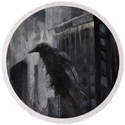 City Dweller Raven Dark Gothic Crow Wall Art Round Beach Towel