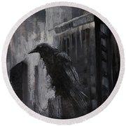 City Dweller Raven Dark Gothic Crow Wall Art Round Beach Towel