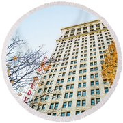 Round Beach Towel featuring the photograph City Federal Building In Autumn - Birmingham, Alabama by Shelby Young