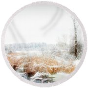 Round Beach Towel featuring the photograph City Flare Winters Glory by Aimee L Maher Photography and Art Visit ALMGallerydotcom