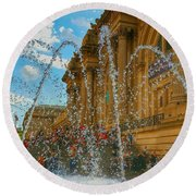 Round Beach Towel featuring the photograph City Fountain  by Raymond Earley