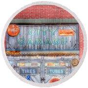 City Garage Round Beach Towel