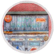 City Garage Round Beach Towel by Toma Caul