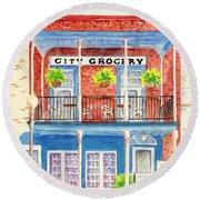City Grocery Oxford Mississippi  Round Beach Towel