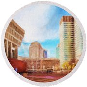 City Hall At Government Center Round Beach Towel
