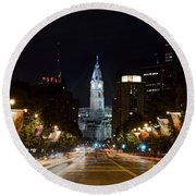 City Hall From The Parkway Round Beach Towel