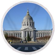 Round Beach Towel featuring the photograph City Hall by Steven Spak