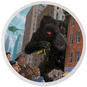 City Invasion Furry Monster Round Beach Towel