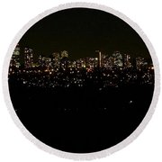 Round Beach Towel featuring the photograph City Light by Kelly Mills