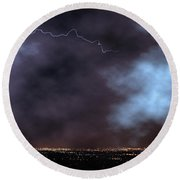 Round Beach Towel featuring the photograph City Lights Night Strike by James BO Insogna