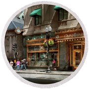 Round Beach Towel featuring the photograph City - Ma Boston - Meet Me At The Omni Parker Clock by Mike Savad
