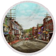 Round Beach Towel featuring the photograph City - Ma Glouster - A Little Bit Of Everything 1910 by Mike Savad