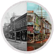 Round Beach Towel featuring the photograph City - Ma Glouster - A Little Bit Of Everything 1910 - Side By Side by Mike Savad