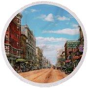 Round Beach Towel featuring the photograph City - Memphis Tn - Main Street Mall 1909 by Mike Savad