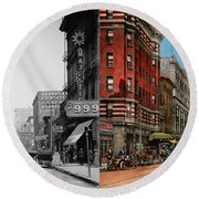 Round Beach Towel featuring the photograph City - Memphis Tn - Main Street Mall 1909 - Side By Side by Mike Savad