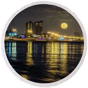 Round Beach Towel featuring the photograph City Moon by Brian Wright