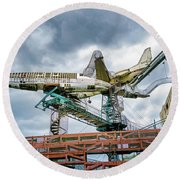 City Museum Outdoor Sculpture Round Beach Towel