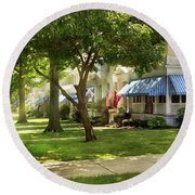 Round Beach Towel featuring the photograph City - Naval Academy - A Walk Down Captains Row by Mike Savad