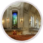 Round Beach Towel featuring the photograph City - Naval Academy - God Is My Leader by Mike Savad