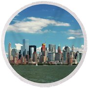 Round Beach Towel featuring the photograph City - New York Ny - The New York Skyline by Mike Savad