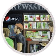City Newsstand - People On The Street Painting Round Beach Towel