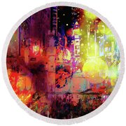 City Nights Round Beach Towel