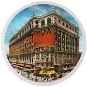 Round Beach Towel featuring the photograph City - Ny New York - The Nation's Largest Dept Store 1908 by Mike Savad