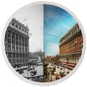 Round Beach Towel featuring the photograph City - Ny New York - The Nation's Largest Dept Store 1908 - Side by Mike Savad