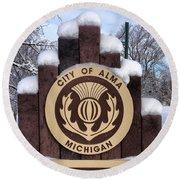 City Of Alma Michigan Snow Round Beach Towel