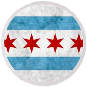 Round Beach Towel featuring the mixed media City Of Chicago Flag by Christopher Arndt