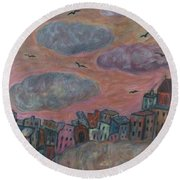 City Of Clouds Round Beach Towel