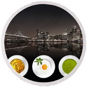 City Of Cultural Cuisines Round Beach Towel