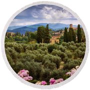 City Of Florence Round Beach Towel