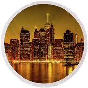 Round Beach Towel featuring the photograph City Of Gold by Chris Lord