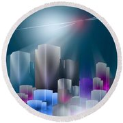 City Of Light Round Beach Towel