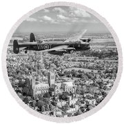 Round Beach Towel featuring the photograph City Of Lincoln Vn-t Over The City Of Lincoln Bw Version by Gary Eason