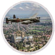 Round Beach Towel featuring the photograph City Of Lincoln Vn-t Over The City Of Lincoln by Gary Eason