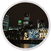 City Of London At Night Round Beach Towel