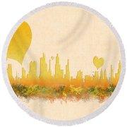 City Of Love Round Beach Towel