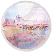 City Of Prague Round Beach Towel