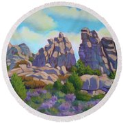 City Of Rocks Round Beach Towel