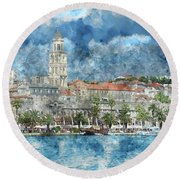 City Of Split In Croatia With Birds Flying In The Sky Round Beach Towel