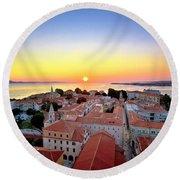 City Of Zadar Skyline Sunset View Round Beach Towel