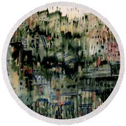 City On A Hill Round Beach Towel