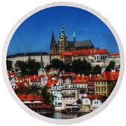 City On The River IIi Round Beach Towel