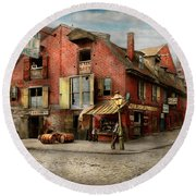 Round Beach Towel featuring the photograph City - Pa - Fish And Provisions 1898 by Mike Savad